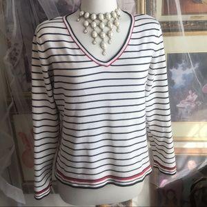 Liz Claiborne Black-Red Stripped Sweater